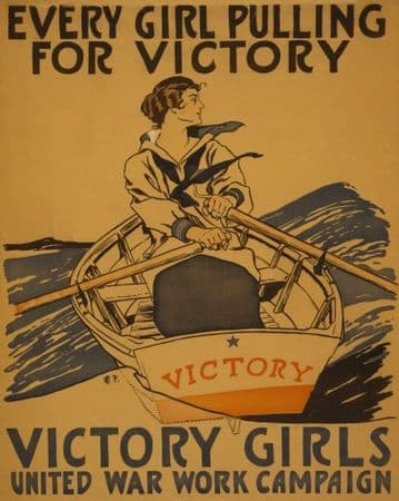 """Vintage WW1 Poster """"Every girl pulling for victory"""""""