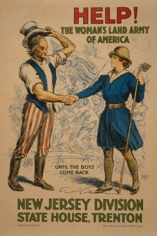 """Vintage WW1 Poster """"Help! The womans Lands Army of America"""""""