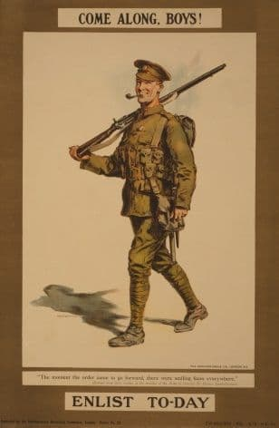 Vintage WW1 poster. Come along, boys! Enlist to-day / W.H. Caffyn