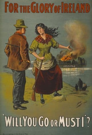 Vintage WW1 poster. For the glory of Ireland