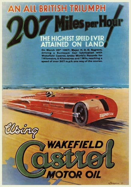 Wakefield Castrol Motor Oil, Vintage Land Speed Record poster. Sir Henry Segrave 1927