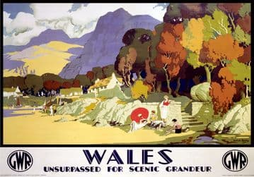 Wales, Unsurpassed for Scenic Grandeur. GWR vintage Travel Poster.