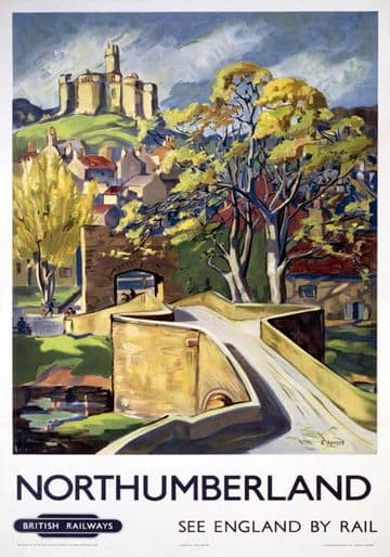 Warkworth Castle, Northumberland. BR Vintage Travel Poster by E Harris