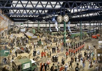 Waterloo Station - Peace, 1948. Watercolour for SR Vintage Travel Poster by Helen Madeleine McKie