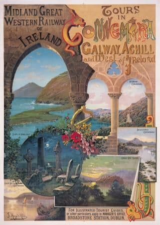 West of Ireland, Galway, Achill, Connemara, Irish Art Travel Poster by Great Western Railway
