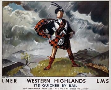 Western Highland, Scotland, It's quicker by rail.  Railway Travel Poster Print