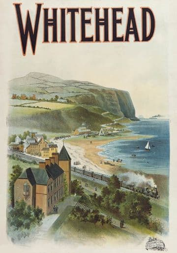 Whitehead, Co Antrim. Northern Ireland. Vintage Irish Railway Travel Poster
