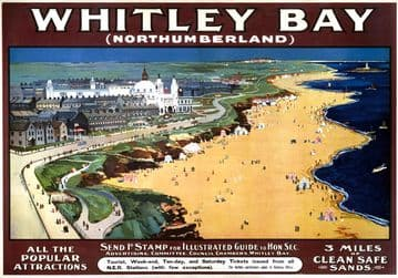 Whitley Bay Promenade, Northumberland. NER Vintage Travel Poster 1910-1922