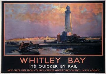 Whitley Bay, Tyne & Wear, St Marys Lighthouse. LNER Vintage Travel Poster by Frank Henry Mason. 1933