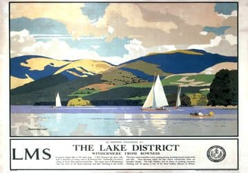 Windermere from Bowness, Lake District, Cumbria. Vintage LMS Travel poster by Norman Wilkinson