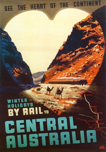 Winter Holidays by Rail to Central Australia. Vintage Travel Poster by Percy Trompf. c1959