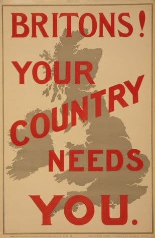 WW1 POSTER. Britons! Your country needs you