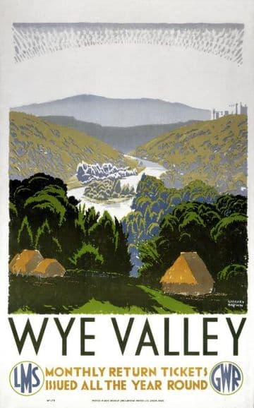 Wye Valley, Vintage English Railway Travel Poster Print by GWR & LMS