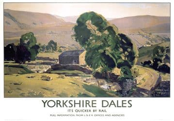 Yorkshire Dales, Sheep Farm. Vintage LNER Travel poster by E Byatt. 1940