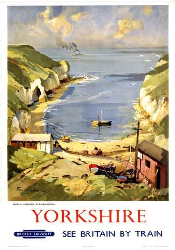 Yorkshire, North Landing, Flamborough. BR (ER) Vintage Travel Poster by Edward Wesson
