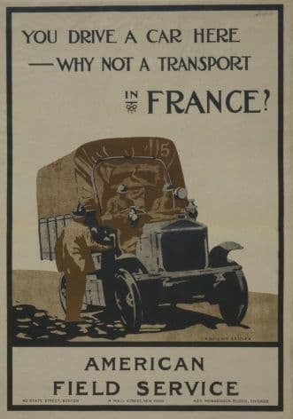 You Drive a Car Here--Why Not a Transport in France? Vintage WW1 Poster